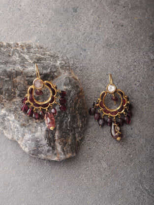 Tourmaline and Quartz Polki Gold Earrings