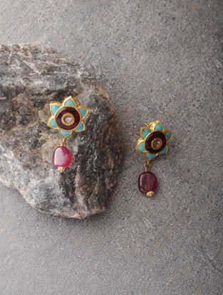 Ruby and Turquoise Polki Gold Earrings