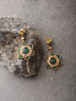 Green Enameled Polki Gold Earrings with Quartz
