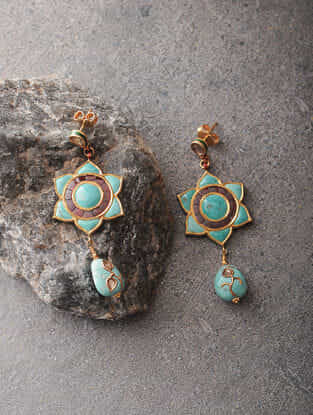 Red-Green Enameled Polki Gold Earrings with Turquoise and Tourmaline