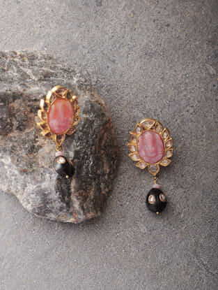 Pink Opal and Black Onyx Polki Gold Earrings