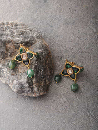 Emerald and Quartz Polki Gold Earrings