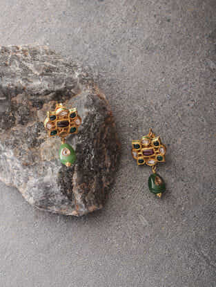 Red-Green Enameled Polki Gold Earrings with Jade and Ruby