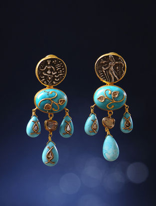 Turquoise Polki Gold Earrings with Silver Coin Replicas