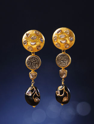Black-Onyx Polki Gold Earrings with Silver Coin Replicas