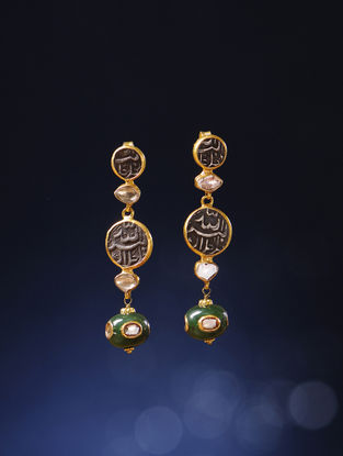 Jade Polki Gold Earrings with Silver Coin Replicas