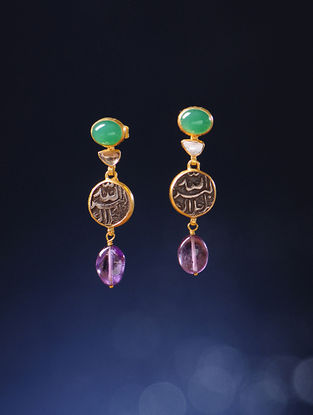 Amethyst Polki Gold Earrings with Silver Coin Replicas