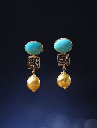 Turquoise Gold Earrings with Silver Coin Replicas