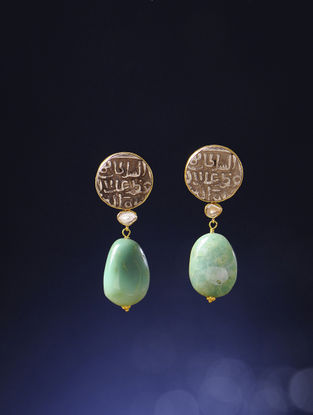 Chrysoprase Polki Gold Earrings with Silver Coin Replicas
