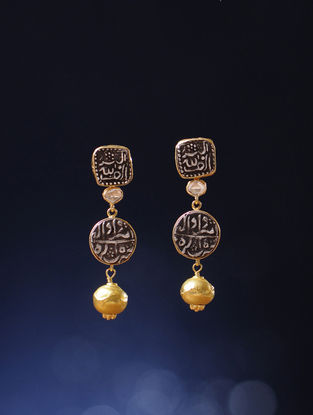 Polki Gold Earrings with Silver Coin Replicas