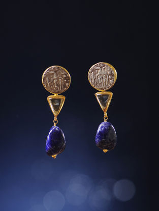 Lapis-Citrine Gold Earrings with Silver Coin Replicas