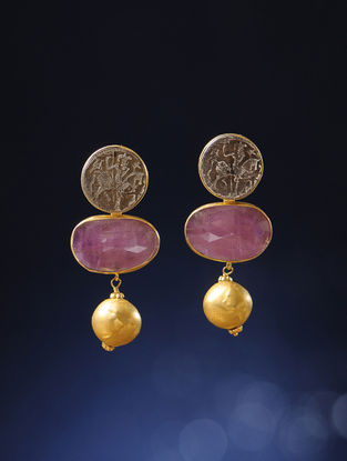 Ruby Gold Earrings with Silver Coin Replicas