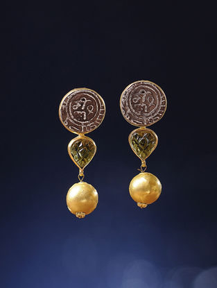 Peridot Gold Earrings with Silver Coin Replicas