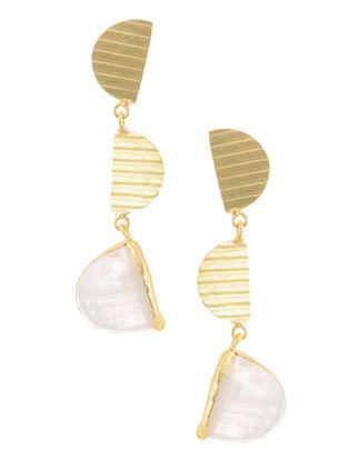 Moonstone Gold Tone Brass Earrings