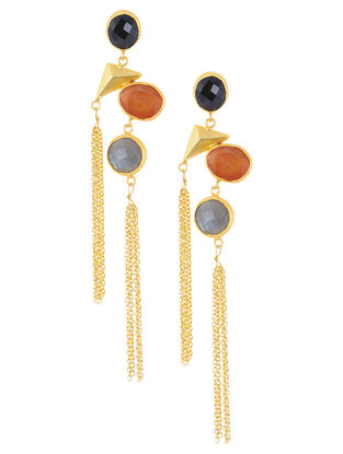 Onyx and Opal Gold Tone Brass Earrings