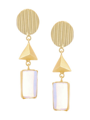 Moonstone Gold-plated Brass Earrings