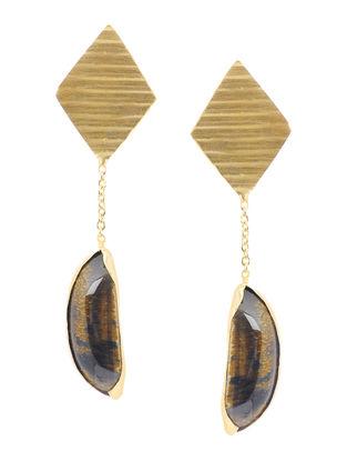Tigers Eye Gold-plated Brass Earrings