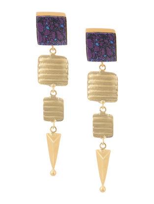 Purple Gold-plated Brass Earrings