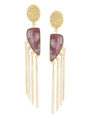 Onyx Gold-plated Brass Earrings