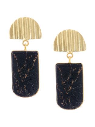 Black Gold-plated Brass Earrings