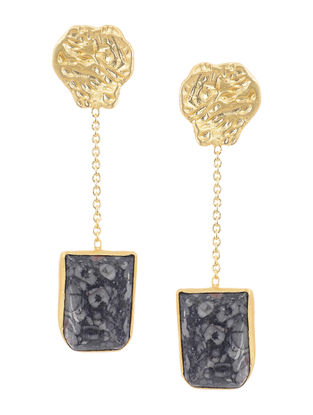 Chalcedony Gold-plated Brass Earrings