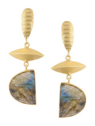 Labradorite Gold-plated Brass Earrings