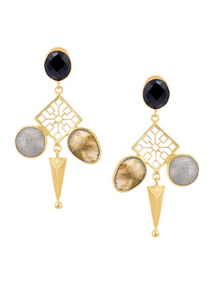 Onyx and Labradorite Gold Tone Brass Earrings
