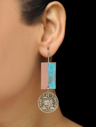 Blue-Pink Coin Copper and Brass Earrings with Patina Finish