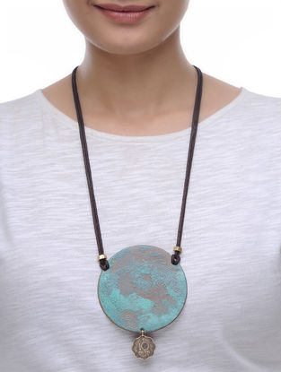 Blue Ten Paisa Coin Copper Necklace with Patina Finish