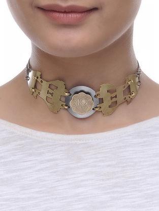 Dual Tone Ten Paisa Coin Brass Necklace