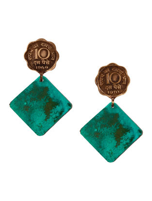Blue Ten Paisa Coin Copper Earrings with Patina Finish