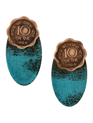 Blue Ten Paisa Coin Brass Earrings with Patina Finish