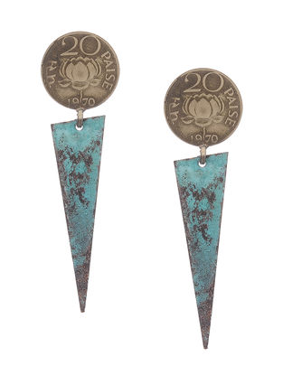 Blue Twenty Paisa Coin Copper Earrings with Patina Finish