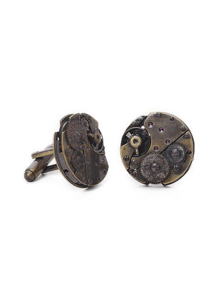 Classic Watch Mechanism Cufflinks with Brass Finish
