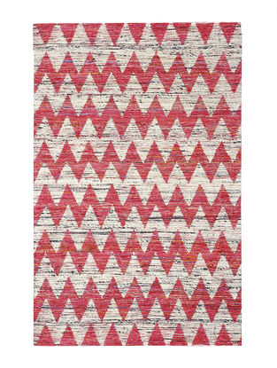 White-Pink Handwoven Silk and Cotton Dhurrie