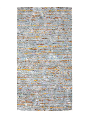 Grey-White Handwoven Silk and Cotton Dhurrie (4.5ft x 2.4ft)