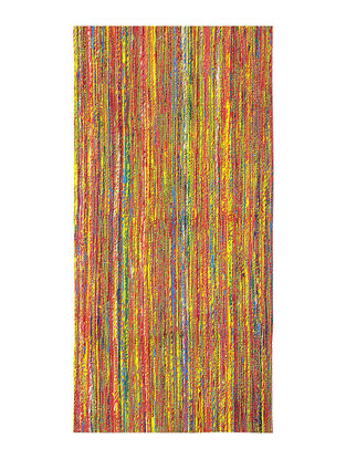 Multicolored Handwoven Silk and Cotton Dhurrie (5ft x 2.5ft)