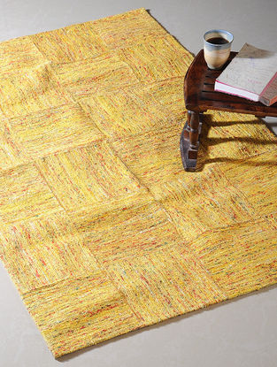 Yellow Handwoven Silk and Cotton Dhurrie (5ft x 3ft)
