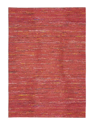 Red Handwoven Silk and Cotton Dhurrie (6ft x 4ft)