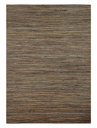 Beige-Black Handwoven Jute and Cotton Dhurrie (L:5ft9in, W:4ft)
