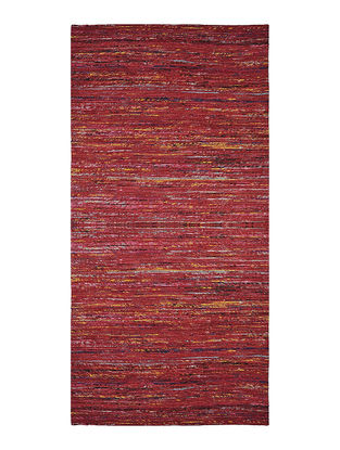 Maroon Handwoven Silk and Cotton Dhurrie