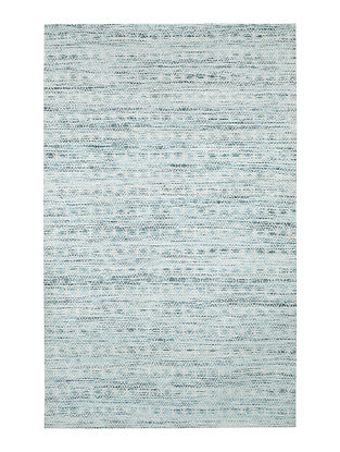 White-Blue Handwoven Silk and Cotton Dhurrie