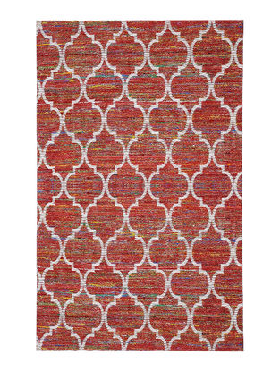 Red-White Handwoven Silk and Cotton Dhurrie