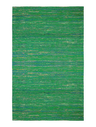 Green Handwoven Silk and Cotton Dhurrie