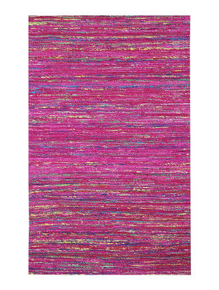 Pink Handwoven Silk and Cotton Dhurrie