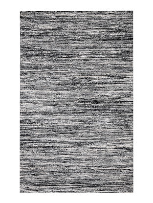 Black-White Handwoven Silk and Cotton Dhurrie