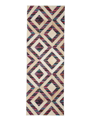 Multicolored Handwoven Silk and Leather Dhurrie (5ft.4in x 2ft.2in)