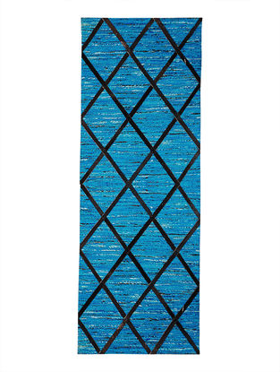 Blue-Black Handwoven Silk and Leather Dhurrie (5ft.2in x 2ft)