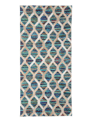 Multicolored Handwoven Silk and Leather Dhurrie (4ft.6in x 2ft.6in)