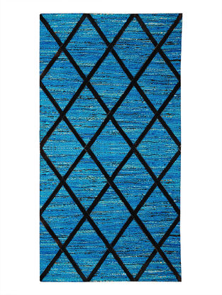 Blue-Black Handwoven Silk and Leather Dhurrie (4ft.6in x 2ft.6in)